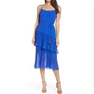 Chelsea28 Blue Ruffle Tie Waist Midi Dress